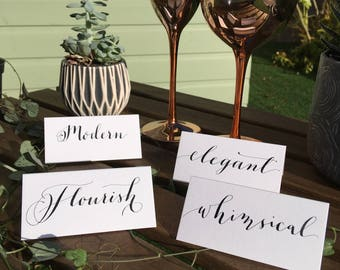 Hand written Calligraphy Place Cards