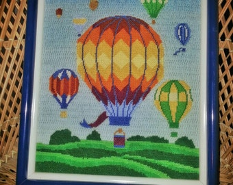 Vintage Balloon  Hanging Cross Stitch Art