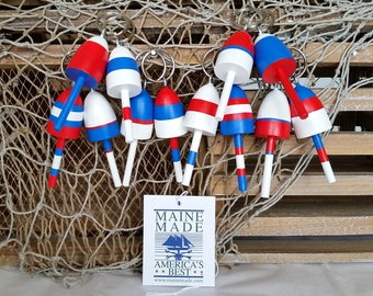 Key Chains, Miniature Maine Lobster Buoys, Wedding Favors, nautical gifts, set of 12, patriotic, red white and blue