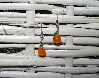 Cat's Eye Pumpkin Earrings