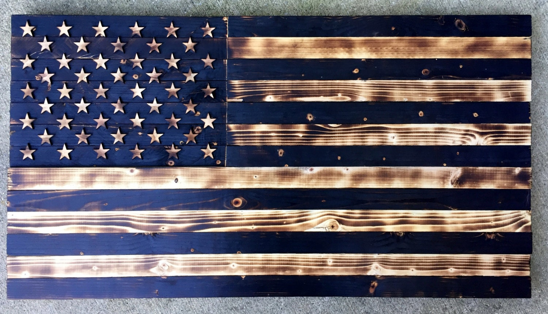 Wooden American Flag Charred Flag Vintage Flag Rustic