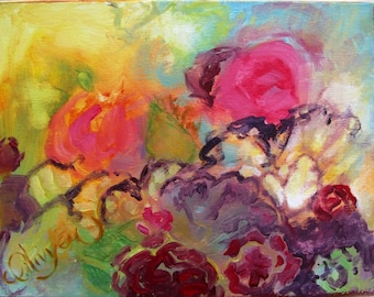 "Abstract Floral Painting in Acrylic, Garden Flowers at Sunrise, Original, Expressionist, 11"" x 14"""