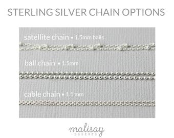 sterling silver satellite chain, ball chain, cable chain, gold or silver finished chain, sterling silver necklace