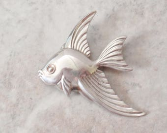 Angel Fish Brooch Sterling Silver Tropical Goldfish Vintage AT0149