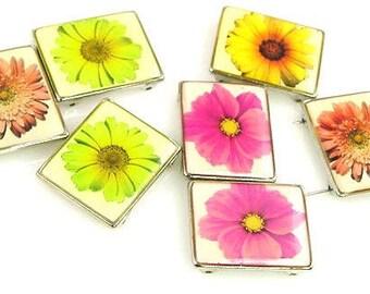 7 Flower Floral 2 Hole Slider Beads 11156-H12