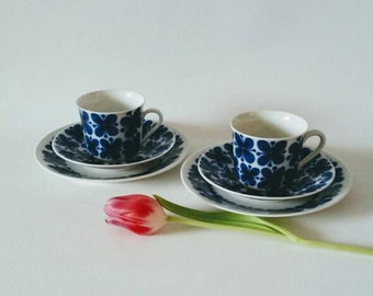 Rorstrand Sweden / 'Mon amie' / Marianne Westman / Set of two coffee cups, saucers with small plates
