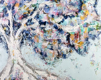 """Tree canvas, painting, abstract art, 3/4"""" thick canvas print, My Hiding Place"""