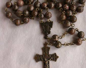 Catholic Rosary, Deluxe :Leopard Jasper Beads and Real Bronze Crucifix and Centerpiece