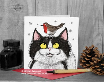Cat Christmas Card, Cat and Robin, Black and White Cat, Fluffy Long Haired Cat, Robin Card, Cute Christmas Card, Christmas Cats, Cat Lovers