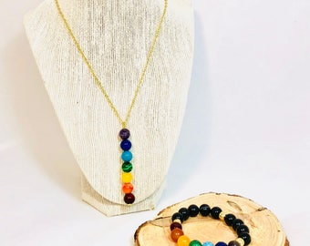 Chakra Stone Necklace and Bracelet Set with 12k Gold Chain.