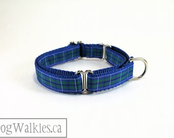 """Ancient Douglas Tartan Dog Collar -  3/4"""" (19mm) Wide - Green and Blue Plaid - Martingale or Quick Release - Choice of collar style and size"""