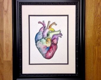 Cardiologist Surgeon Doctor Gift - Hand-Painted Giclée Fine Art Print - Anatomical Heart