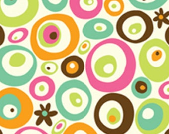 BTHY - Lily by BJ Lantz for Quilting Treasures, Pat #23087-E Geometric Circles,  Brown, Aqua, Orange, Pink, Green Circles on White, Flowers
