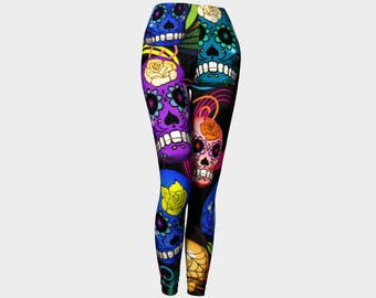 Day Of The Dead Sugar Skulls Black Background Leggings Exercise Workout Casual Wear