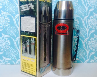 NOS Uno-Vac thermos, new old stock thermos, retro thermos, insulated thermos, deadstock, new in box, 1 quart thermos, metal thermos