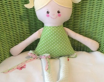 "Handmade Girl Brooke Cloth Doll 17"" Plush Softie Rag Doll Green And White Dot Dress Blonde Wool Felt Hair"
