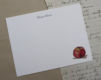 Apple Teacher Custom Notecard Stationery. Thank You, Any Occasion, Personalize Watercolor Print, Set of 10.