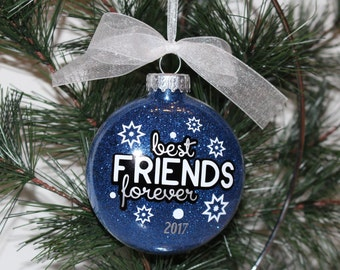 Best Friend Ornament, BFF Christmas Ornament, BFF Gift, Glass Ornament Gift, Best Friend Christmas Gift
