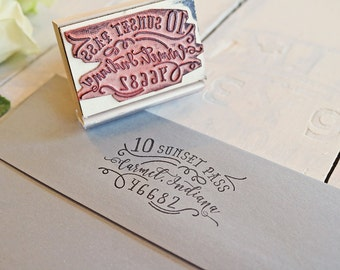 Calligraphy Inspired Return Address Stamp, Hand-Drawn Vintage Personalized Rubber Stamp