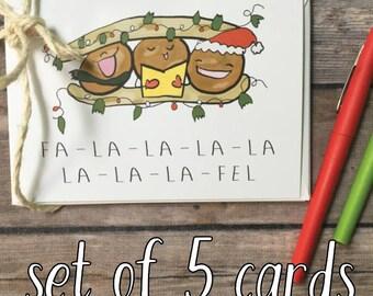 holiday card set - christmas card pack - card set - funny holiday card - falafel card - pun card -foodie holiday card - foodie christmas