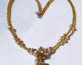 Orange yellow swarovski crystal Orange swarovski crystal necklace / Bronze