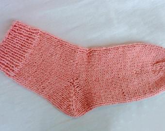 Knitted pink socks. Handmade. Wool/PAN