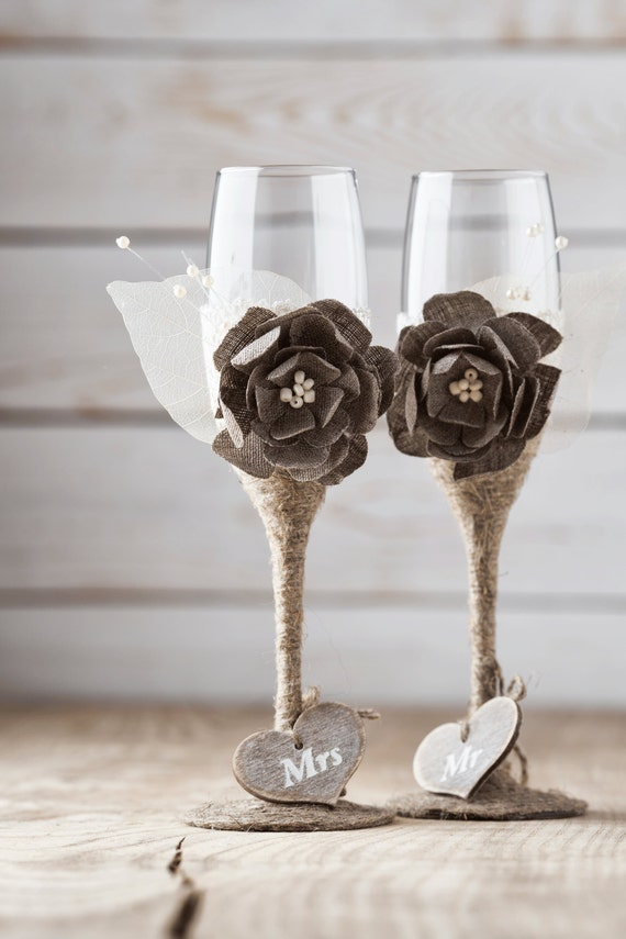 Rustic Wedding Glasses Toasting Glasses Rustic Toasting Flutes