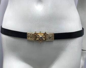Vintage JUDITH LEIBER LIZARD Belt Black Gold Metal Buckle 2 Birds Adjustable