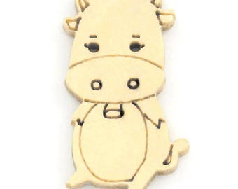5 wooden cow buttons - 25mm x 14mm - 2 holes - light wood