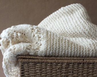 Blanket, hand spun and hand knitted, natural colour, Romney marsh