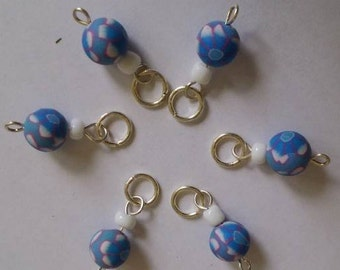 Handmade Clay Stitch Markers - Set of 6 stitch markers