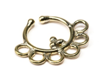 Septum Ring Brass Nickel Free Real & Fake Septum Tribal Jewelery Indian Nose Ring B16 Gift Boxed and Gift Bag Free UK Delivery