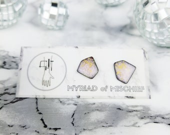 Enamelled Copper Geo Stud in Pastel Pink & Gold