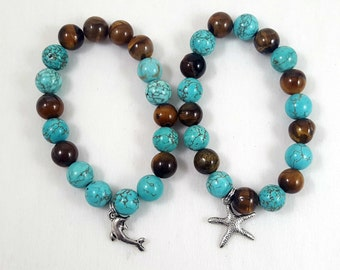 Tiger Eye and Turquoise Howlite Beaded Bracelet-Stackable/Stack Bracelets/Trendy/Charm Bracelet/Jewelry/Stretch Bracelet/ Bracelet Set