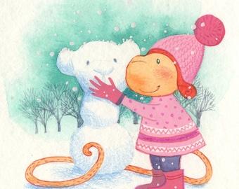 Be My Valentine Snow Love Monkey Watercolor Postcard