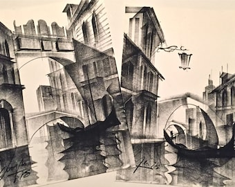 Vintage Original Mid Century Modern Cubist Gothic Dark Charcoal Drawings Venice Italy Gondolas Venice Canals SET OF TWO
