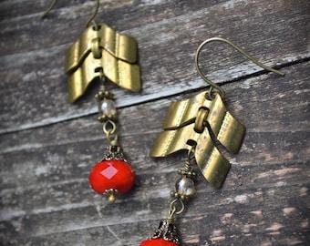 Brass Chevron Chain Earrings red Czech glass assemblage earrings