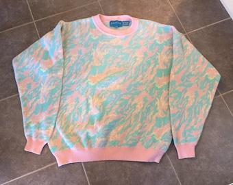 1980s Pastel Womans Cotton Sweater Fairy Kei