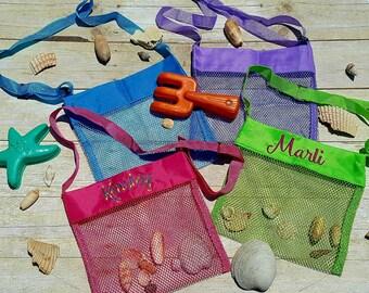 Seashell bag, sea shell bags, kids mesh beach bag, personalized shell collecting bags, kids tote, beach trip
