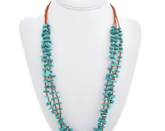 Three Strand Navajo Turquoise Chip Necklace Santo Domingo Style