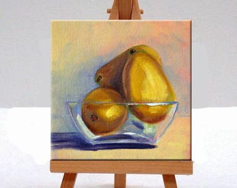 Golden Pears, Still Life, Original Oil Painting, Glass Bowl, Small 6x6 Canvas, Kitchen Wall Decor, Gold Blue, Food Art, Yellow