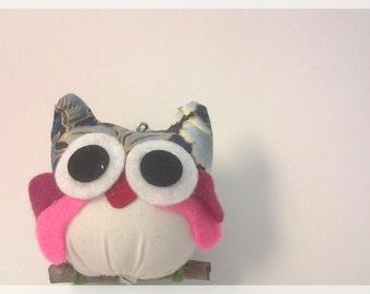 Blue flower fabric owl keychain , ready to ship.