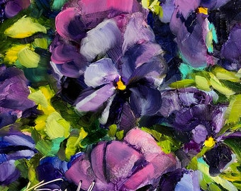 floral painting | floral decor | floral wall decor | pansies art | pansies painting | flower painting | flower art | flower wall decor