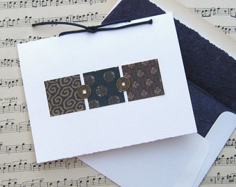 Asian Navy Blue & Brown All Occasion Handmade Greeting Card PSS 1730