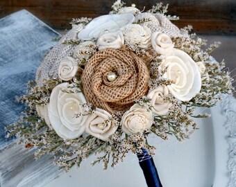 Rustic Dried Flower Bouquet // Burlap Bouquet, Bridal Bouquet, Wedding Bouquet, Sola Wood, Flower Bouquet, Bridal Flowers, Wedding Flowers