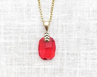 Red crystal pendant etsy more colors red crystal pendant necklace aloadofball Gallery