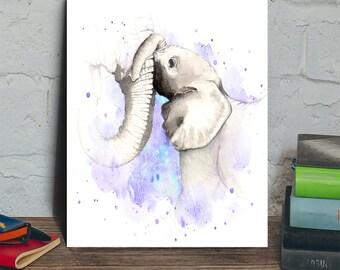 elephant digital download, elephant art printable, baby elephant print, elephant illustration, elephant painting, elephant instant download