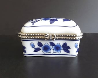 Vintage Trinket Box Hand Painted Porcelain Blue White Collectible Home Decor Decorative