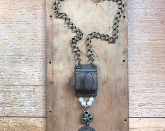 Steampunk Necklace - Vintage Saint Christopher Medal - Repurposed Jewelry - Upcycled Jewelry - Sustainable Fashion - Burning Man Men