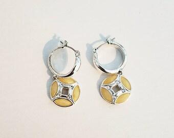 Geometric Design Enamel Earrings